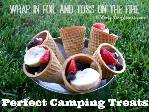 Perfect Camping Treats are quick and easy to make! The kids will love this delicious sugar cone filled with marshmallows, strawberries, bananas and of course chocolate chips.