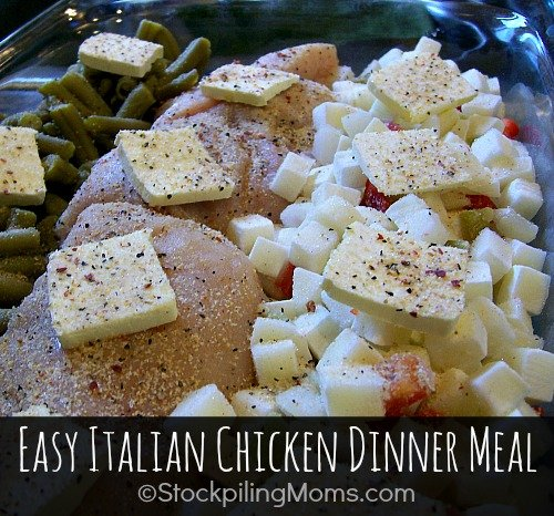 Easy Italian Chicken Dinner Meal that you can make in one dish! Easy cleanup and the family will love this delicious recipe!