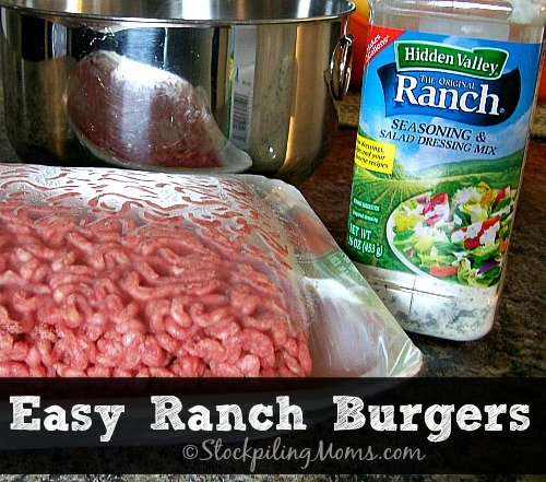 Easy Ranch Burger that only needs 2 ingredients! #easy #hamburger #grilling