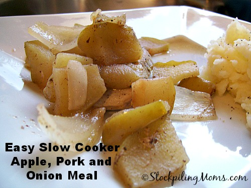 Easy Slow Cooker Apple, Pork and Onion Meal tastes amazing and you only need 3 ingredients!