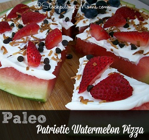 Paleo Patriotic Watermelon Pizza is easy to prepare and tastes delish! #paleo #dessert #recipe