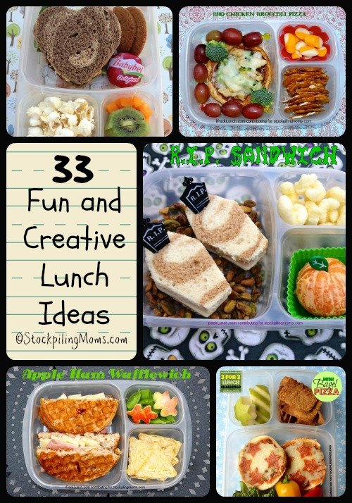 Here are 33 Fun and Creative Lunch Ideas perfect for school! #lunchbox #lunchmeals