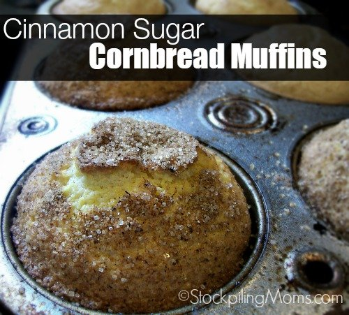 Cinnamon Sugar Cornbread Muffins are perfect for breakfast or an afternoon treat!