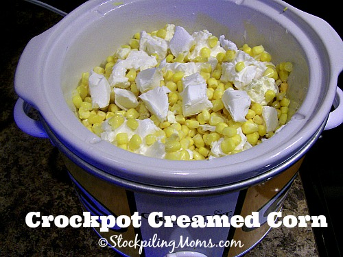 Crockpot Creamed Corn is an amazing slow cooker side dish! Only 5 ingredients needed!