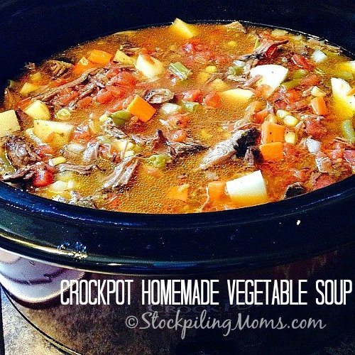 Crockpot Homemade Vegetable Soup is amazing and will feed a large crowd! Great soup for Fall and Winter!