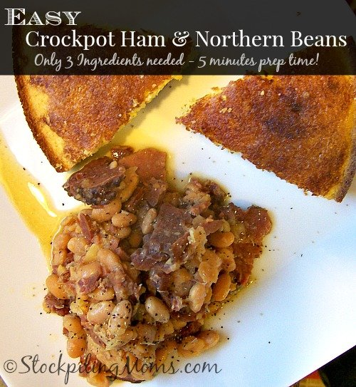 Easy Crockpot Ham & Northern Beans is a great 3 ingredient dinner recipe!