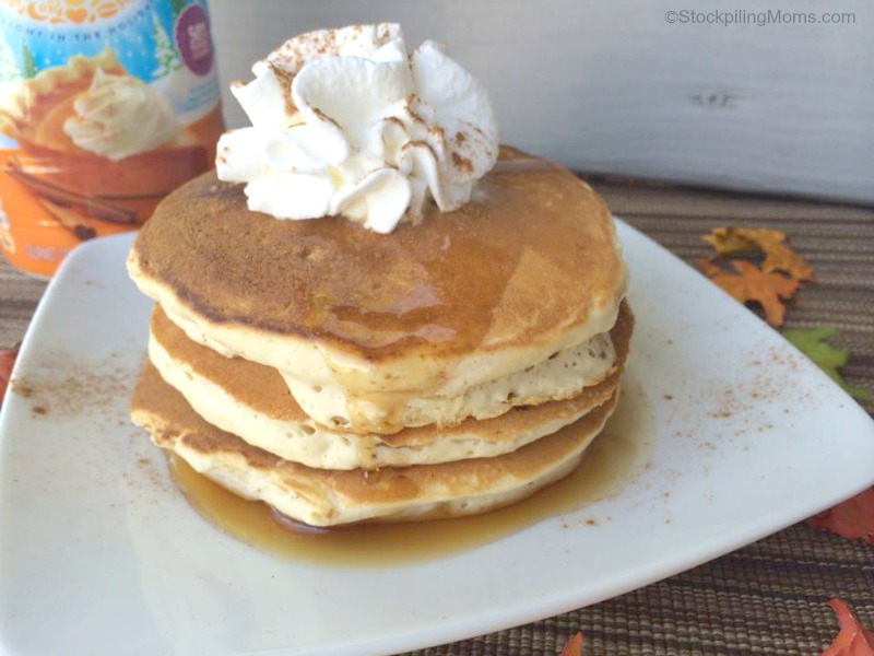 Pumpkin Pie Pancakes are so fluffy and delicious. The perfect fall breakfast recipe!