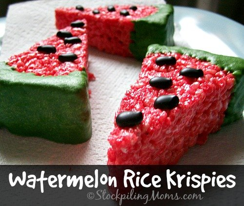 Watermelon Rice Krispies are perfect for a party, BBQ or family gathering!