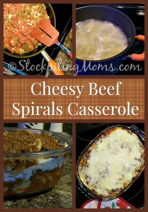 Cheesy Beef Spirals Casserole is full of flavor and will satisfy any hunger! Perfect for a large crowd!