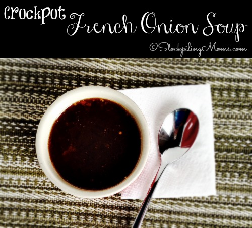 Crockpot French Onion Soup is divine and simple to make! Tastes great and you can add bread and cheese on top if desired.