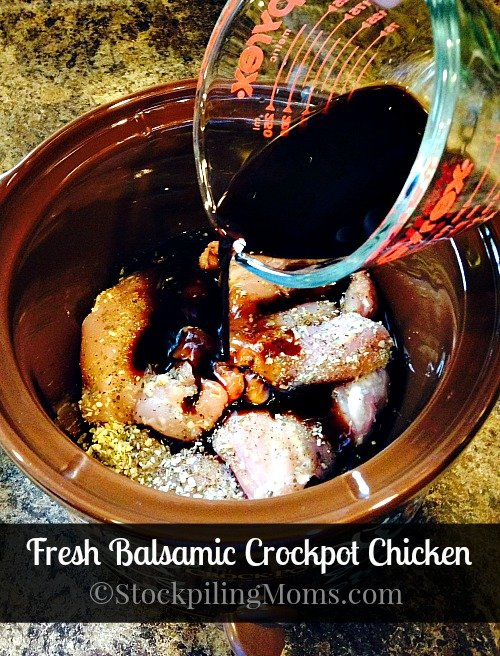Fresh Balsamic Crockpot Chicken is out of this world delicious! Full of flavor and quite tasty!