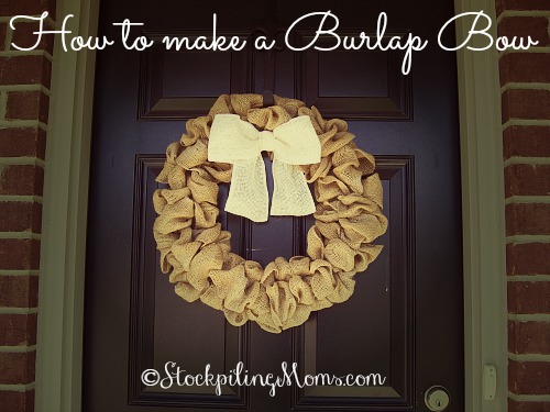 How to make a Burlap Bow is simple and easy! Only takes 5 minutes and a few supplies! #DIY #burlap