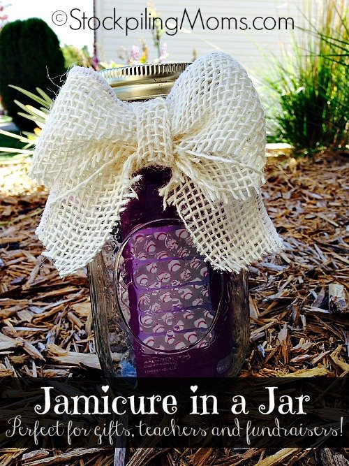 DIY Jamicure in a Jar is perfect for gift giving or donating for a fundraiser! Simple and quick to make!
