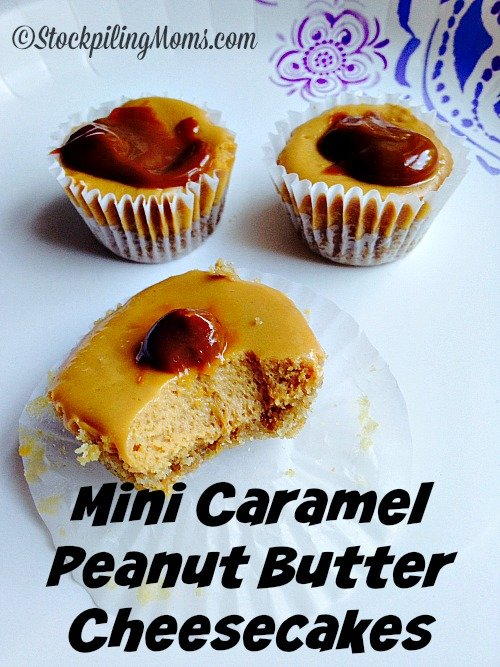 Mini Caramel Peanut Butter Cheesecakes are the perfect dessert for a large gathering or party. These scrumptious two bite treats are full of yummy goodness. You can prepare these delish no bake mini cheesecakes the day before with little prep.