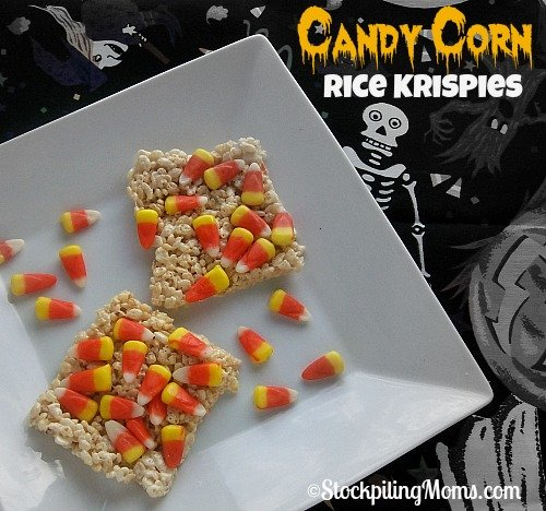 Candy Corn Rice Krispies are the perfect snack for Fall and Halloween! So simple and quick to make this tasty treat!