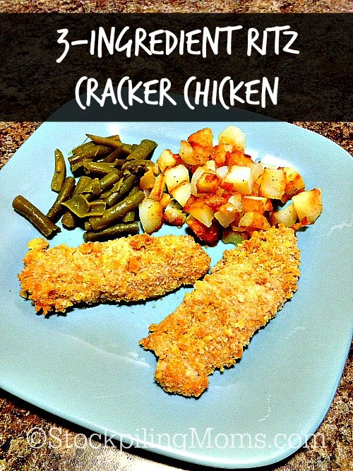 This Easy 3-Ingredient Ritz Cracker Chicken is a great tasting Kid Friendly recipe! The chicken is so wonderfully moist and you only need 3 ingredients to make it!