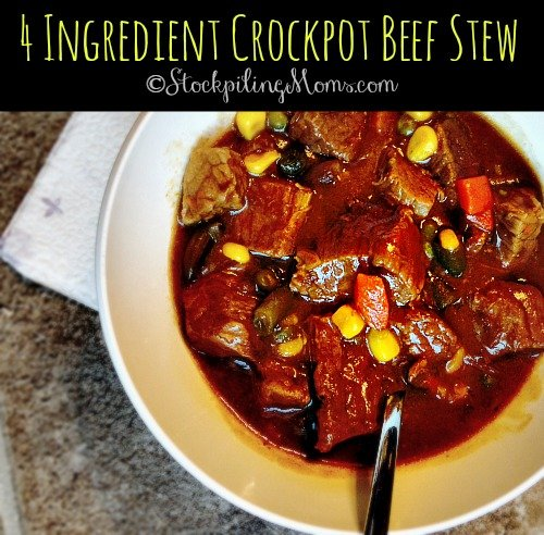 4 Ingredient Crockpot Beef Stew is an easy, delicious slow cooker meal that will fill any hunger! You can not get a simpler beef stew recipe than this.