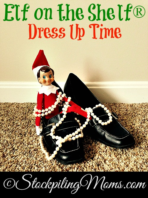Elf on the Shelf® Dress Up Time - Elf is ready to play dress up with Mommy's shoes and jewelry!