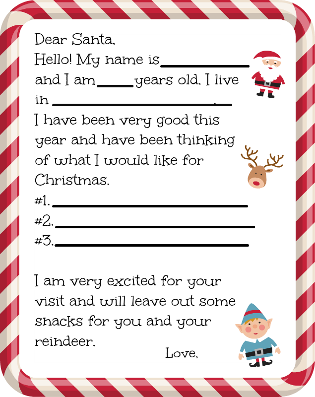 Candid image regarding free printable letter from santa