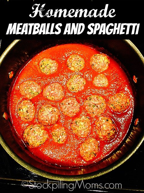 Homemade Meatballs and Spaghetti is divine and so easy to make! I know a lot of you out there think making homemade meatballs is time consuming and hard. But it isn't, not with this recipe!