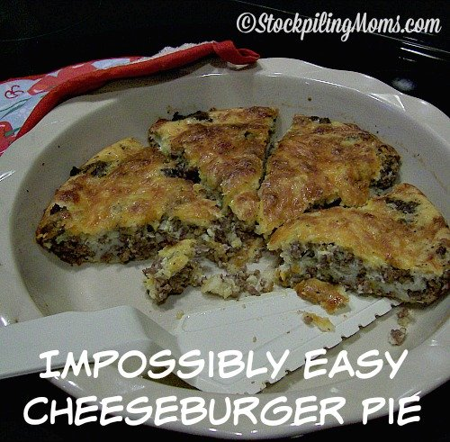 This delicious pie recipe tastes so good and you do not need that many ingredients. My boys absolutely loved this Impossibly Easy Cheeseburger Pie and they cannot wait for me to make it again. In fact we are having it again this week!