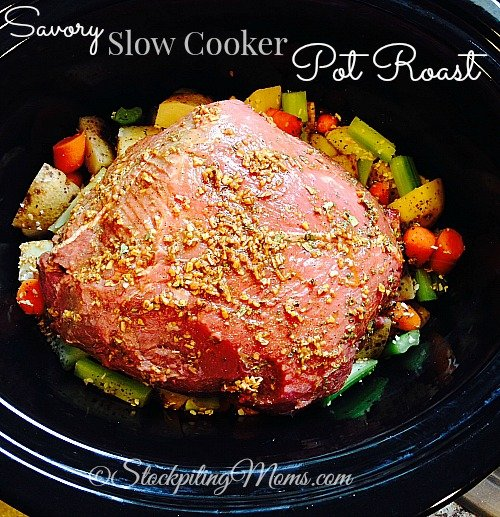 Savory Slow Cooker Pot Roast is so good and is a great comfort food recipe! So easy to throw in the crockpot and have a full dinner once it's done!