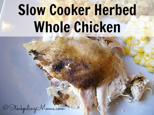 Slow Cooker Herbed Whole Chicken is full of taste and so moist. I love nothing better than a great recipe in my slow cooker that does not require a lot of work and this is one of those recipes!