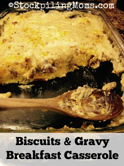 Biscuits & Gravy Breakfast Casserole is out of this world, mouth watering goodness! Perfect for Christmas morning or any holiday!