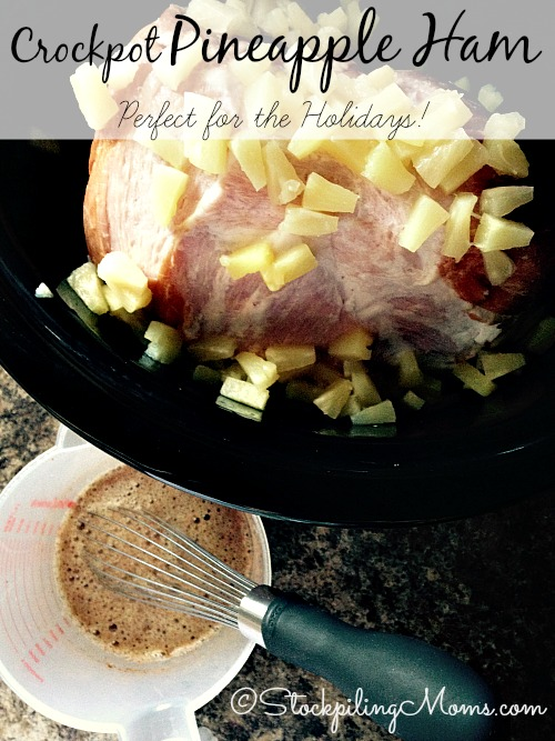 Crockpot Pineapple Ham is the most delicious ham in my opinion! I love that I can make it in my slow cooker with very few ingredients. When the holidays approach I do not get anxious over what I am going to serve because this ham is perfect for Christmas dinner.