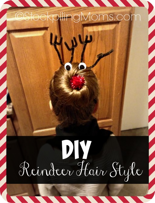 DIY Reindeer Hair Style is adorable for little girls or women for holiday parties and Christmas Day!  So easy to do and everyone will love it!