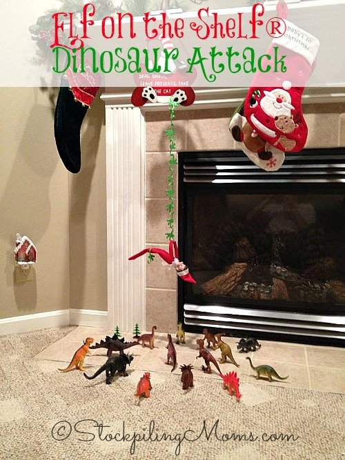 Elf on the Shelf® Dinosaur Attack - Our Elf is trying to escape the herd of dinosaurs that are trying to attack him!