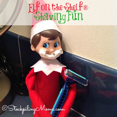 Elf on the Shelf®Shaving Fun - Our elf is trying to shave like Daddy!
