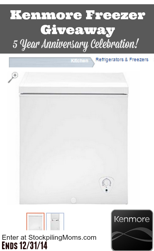 Kenmore Freezer Giveaway - Ends 123114 at 1159 pm ET