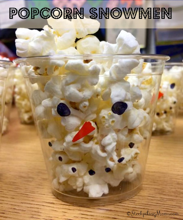 Popcorn Snowman Cups - Perfect for Winter Parties