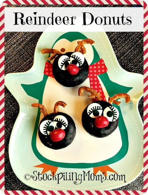 Reindeer Donuts are so easy to assemble and the kids will love them on Christmas morning!  Make Christmas breakfast a little more fun with these adorable Reindeer Donuts that are kid approved.