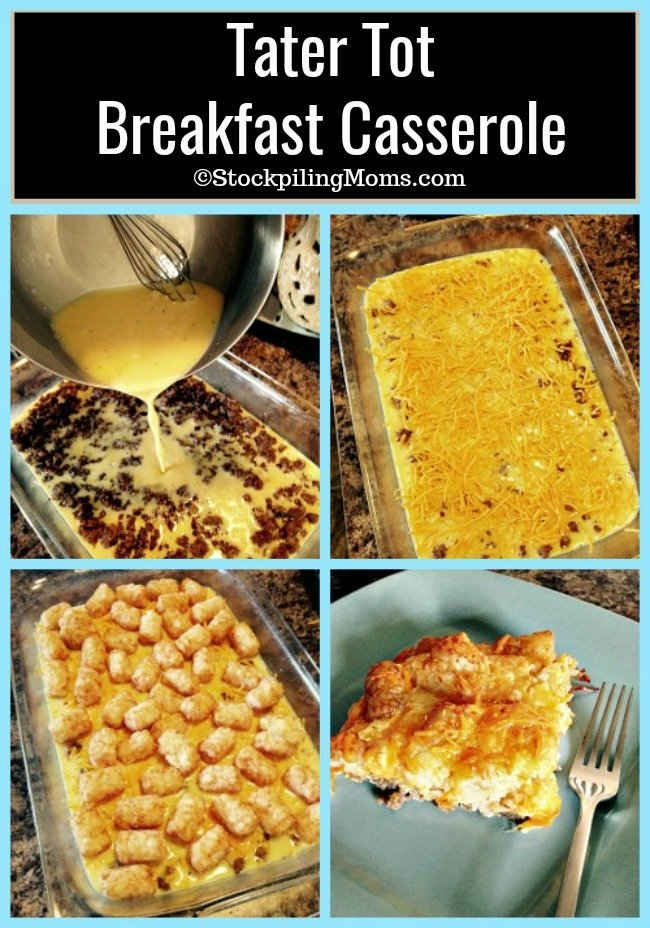 Tater Tot Breakfast Casserole is a great hot breakfast meal for the weekend or on Christmas morning!