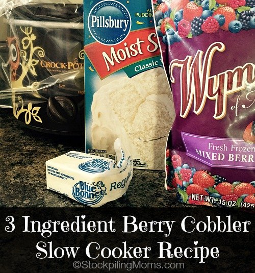 3 Ingredient Berry Cobbler Slow Cooker Recipe is a great dessert recipe! It's so easy to make that you can put everything in the crockpot in under 5 minutes.