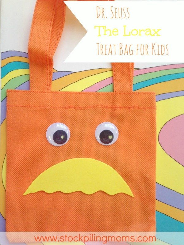 Dr. Seuss The Lorax Treat Bag for Kids is so easy to make with supplies that you can pick up at the Dollar Store!
