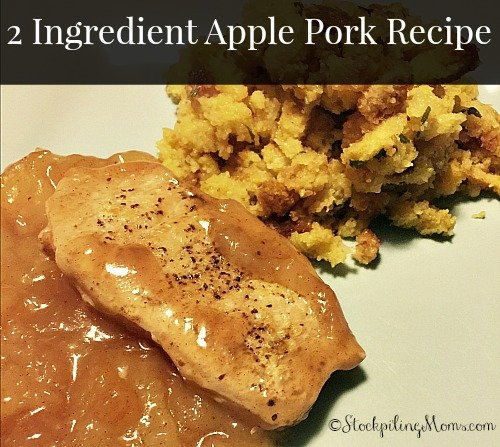 2 Ingredient Apple Pork Recipe is such an amazing dinner recipe! Did I mention that it is also super easy to prepare. Takes about 10 minutes to prep the food, then place the baking dish in the oven and let it do the rest for you. This is a must pin!