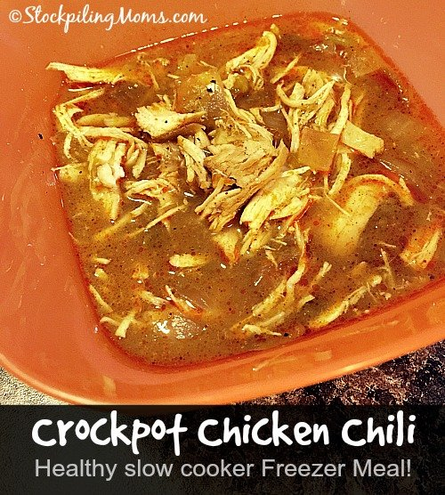 Crockpot Chicken Chili is a great healthy freezer meal!