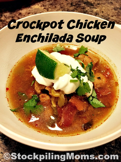 Crockpot Chicken Enchilada Soup is an easy way to shake up your traditional menu plan for Mexican night.