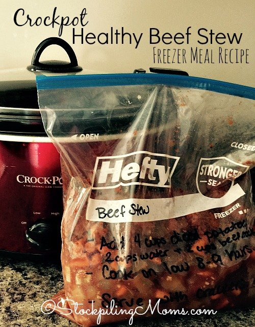 This is a must pin for freezer cooking! Crockpot Healthy Beef Stew easy to prep and delish!