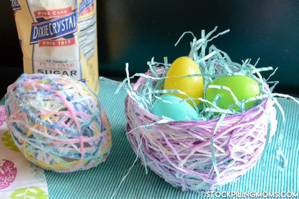 Sugar String Eggs and Baskets are the perfect Easter or Spring Decoration. So much fun to make!