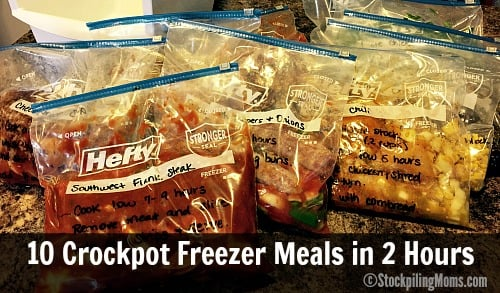10 Crockpot Freezer Meals in 2 Hours is a must pin! Healthy slow cooker freezer meals for the family.