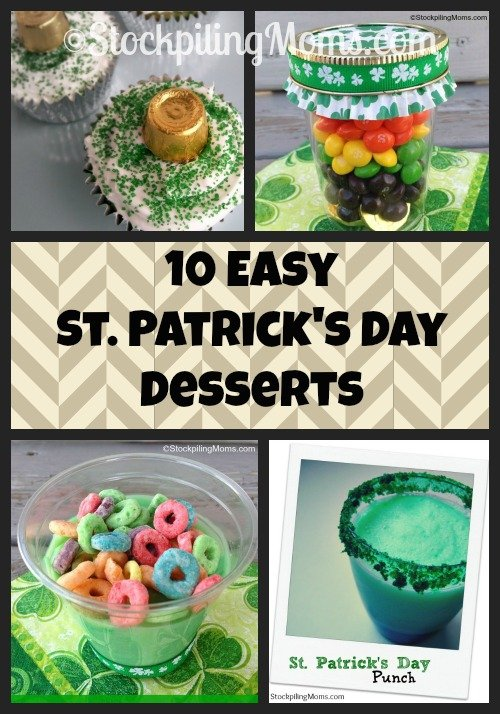 Enjoy these 10 Easy St. Patrick's Day Desserts that kids will love! Perfect for parties!