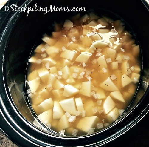 4 Ingredient Potato Soup is the perfect soup on a busy day! It is so easy to dump in the crockpot and go.