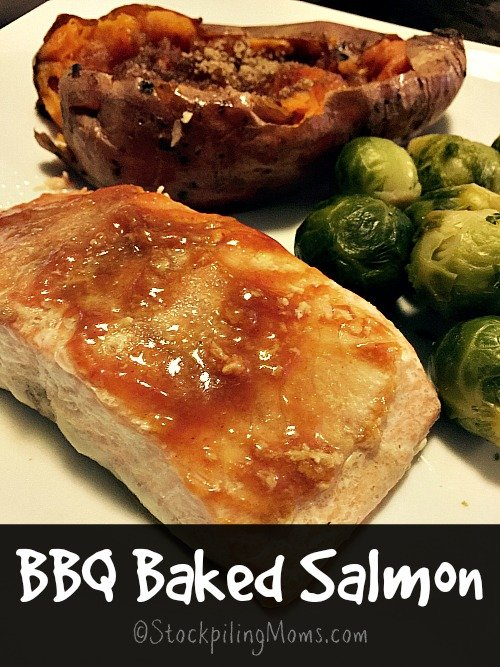 BBQ Baked Salmon is the perfect Lent recipe! Takes less than 20 minutes to make.