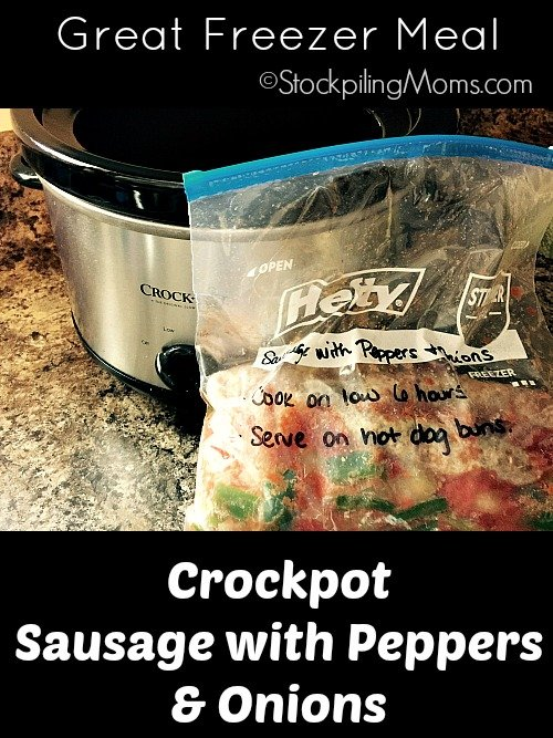 This is a slow cooker freezer recipe must pin! Crockpot Sausage with Peppers & Onions is very tasty!