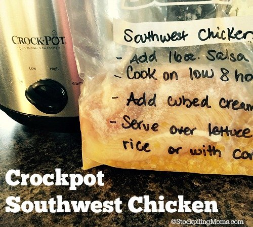 Crockpot Southwest Chicken is a must pin freezer meal! It is delicious and easy to prep!