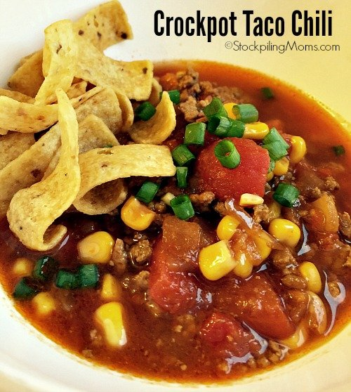 This is a must pin crockpot freezer meal - Crockpot Taco Chili is a huge hit with my family!